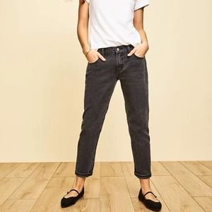Old Navy Mid Rise Boyfriend Jeans Washed Black